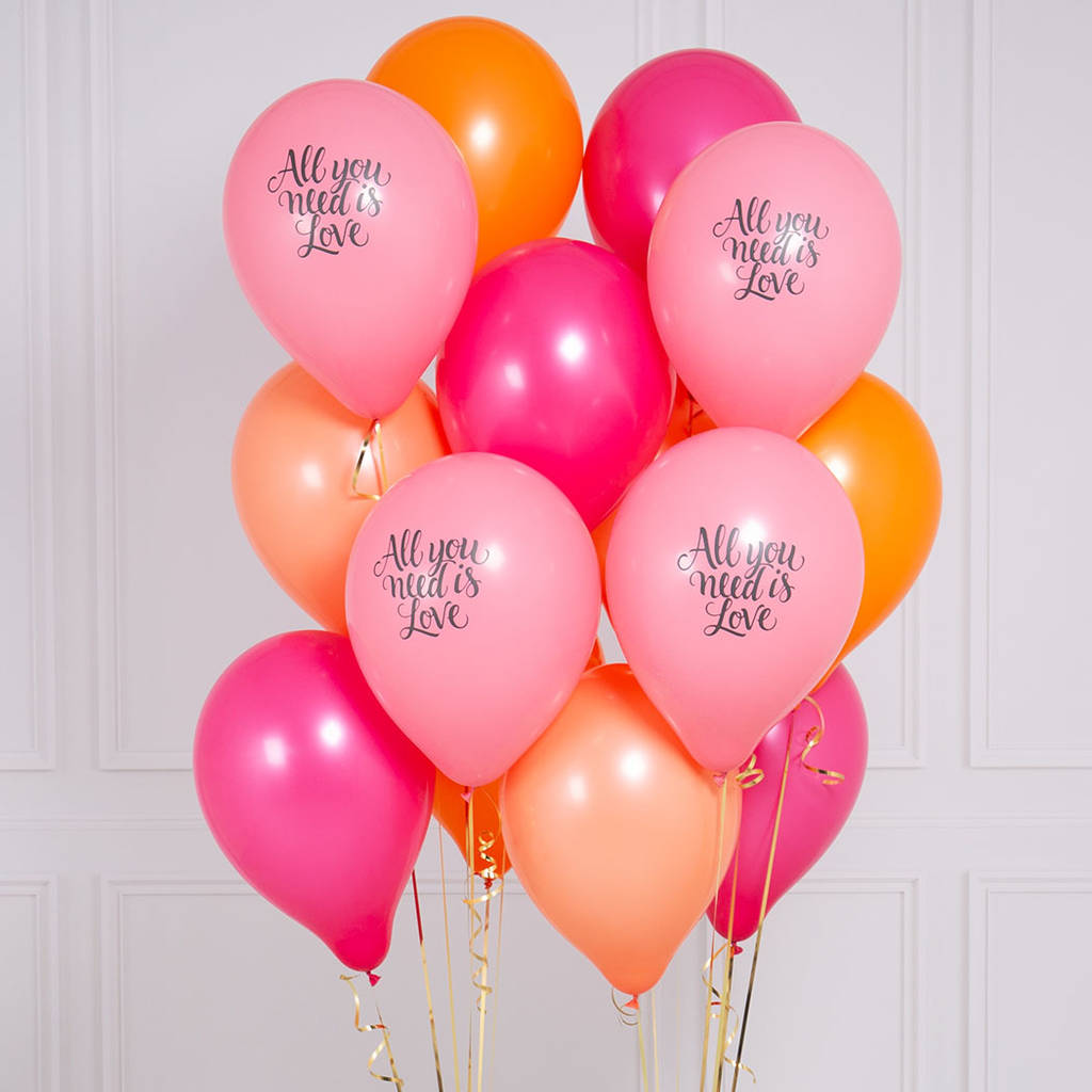Pack Of 14 All You Need Is Love Flamingo Party Balloons