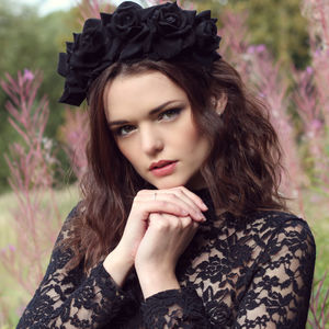 Black Velvet Floral Crown - women's accessories
