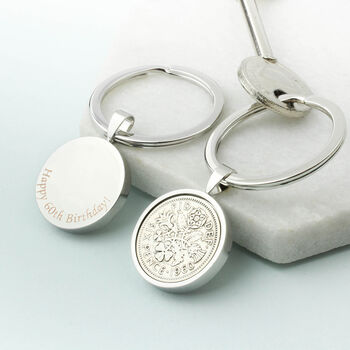 Personalised 1960 60th Birthday Sixpence Keyring