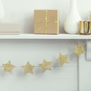 Gold Glitter Wooden Star Bunting Decoration - garlands & bunting