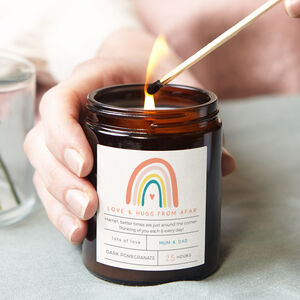Rainbow Gift Personalised Candle Love From Afar