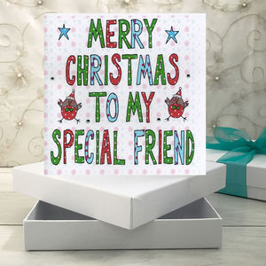 Personalised Special Friend Christmas Book Card
