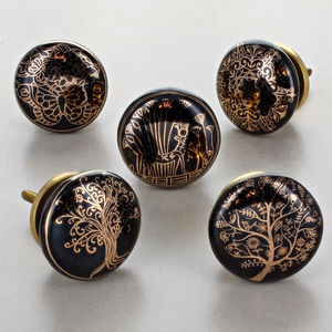 Black Gold Tree Of Life Ceramic Door Knobs - home accessories