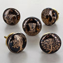 Black Gold Tree Of Life Ceramic Door Knobs