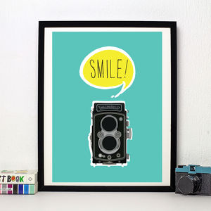 'Smile Vintage Camera' Art Print - posters & prints