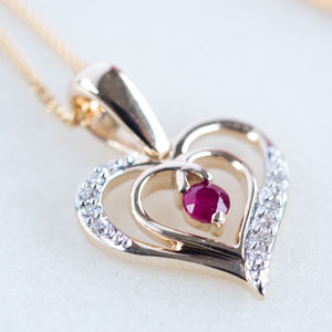 Ruby And Diamond Gold Heart Necklace* - necklaces & pendants