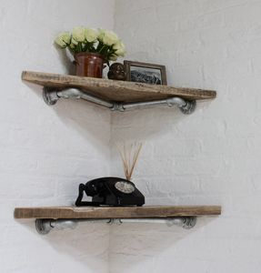 Vikki Pair Of Reclaimed Wood Corner Shelves - storage & organisers