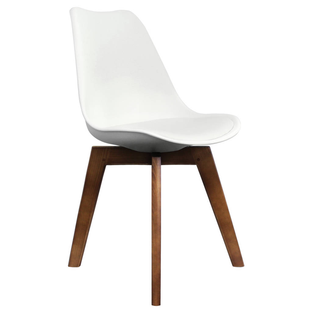 White Copenhagen Chair With Square Walnut Wooden Legs