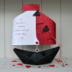 Valentine's Personalised Sailing Boat Card Gift - keepsake cards