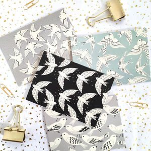 Multi Pack Gift Set Of Eight Bird Print Notecards - notelets & writing paper