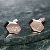 Personalised Rose Gold Geometric Cufflinks - anniversary gifts