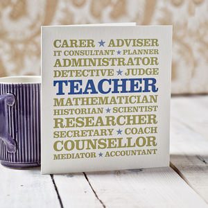 Teacher Professions Thank You Card