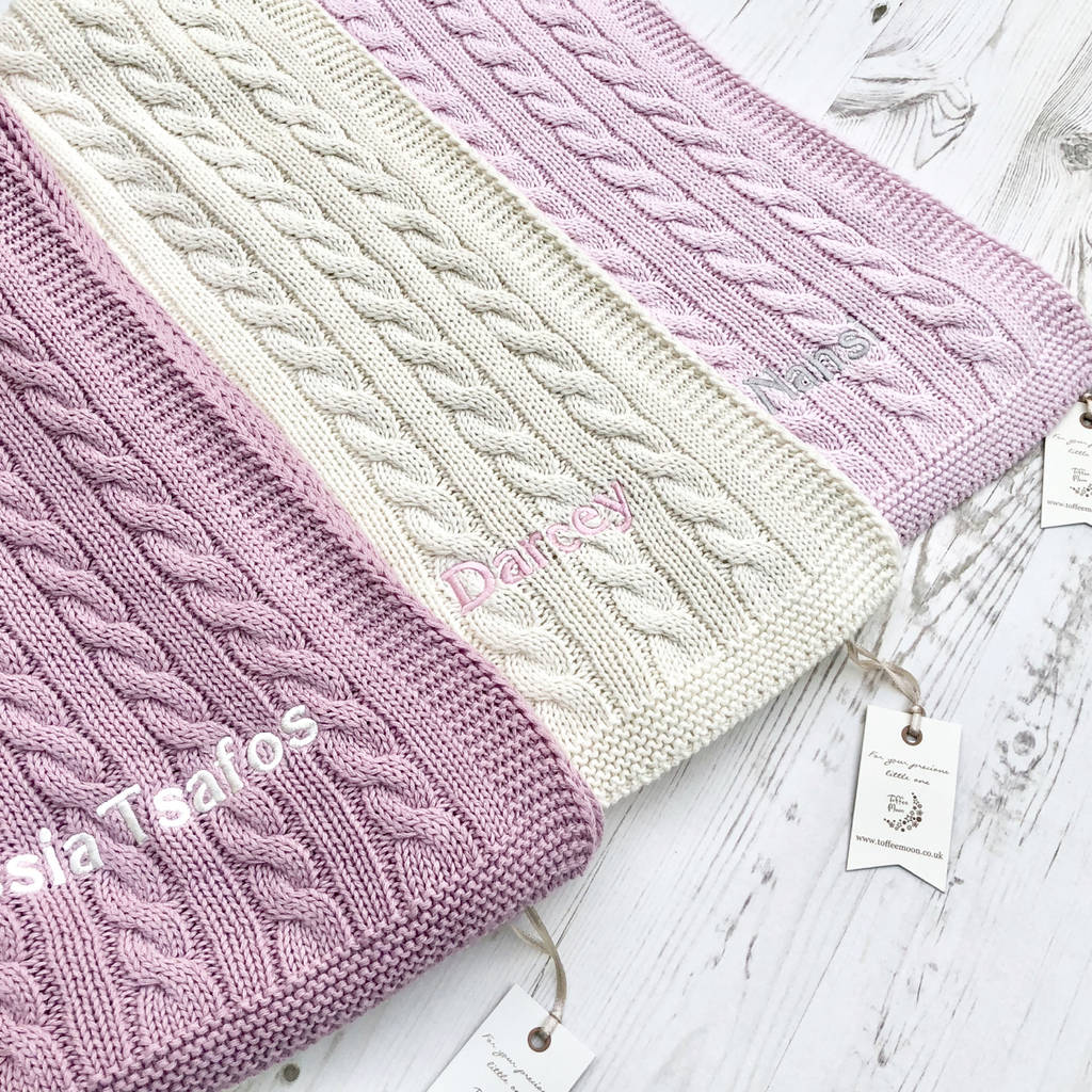 luxury baby girl cable blanket by toffee moon  80dfea577b6e
