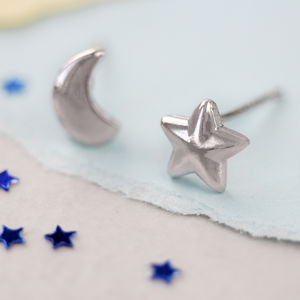Star Moon Stud Earrings - earrings