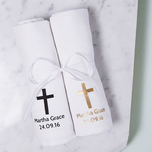 Personalised Christening Baby Muslin Gift Set - gift sets