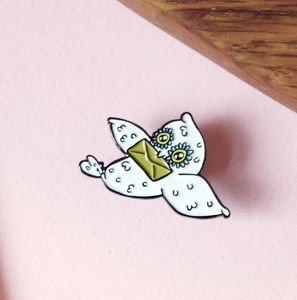 30mm Owl Mail Enamel Pin