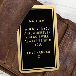 Personalised Message Wallet Insert Keepsake