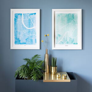 Customisable Watercolour Map Pair Of Prints