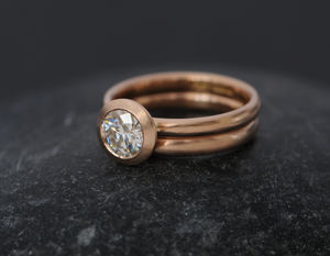 Rose Gold Moissanite Wedding Set - new in wedding styling