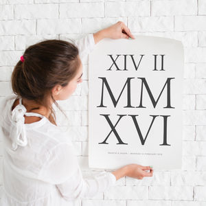 Roman Numerals Personalised Print