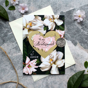 Scratch Off Black Magnolia Bridesmaid Card - be my bridesmaid