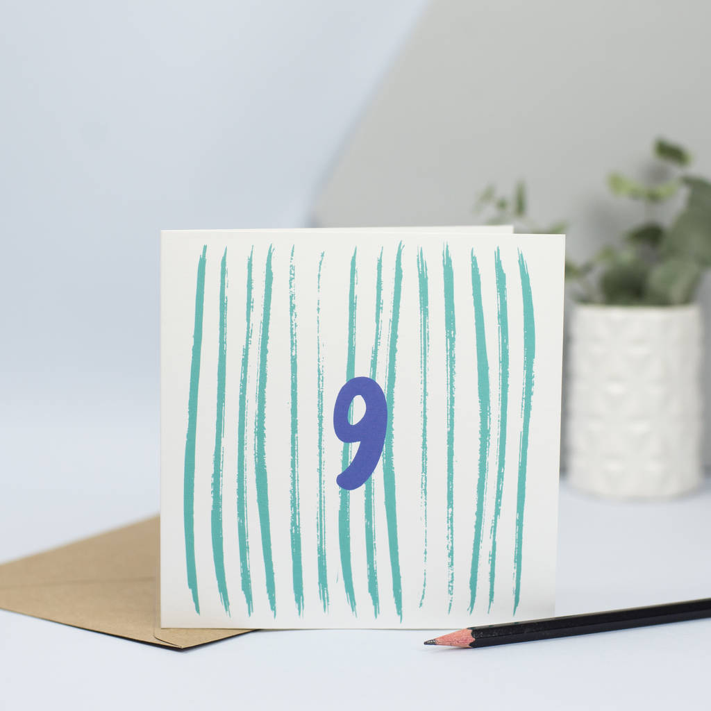 Birthday Card For 9th Nine Year Old By Lizzie Chancellor