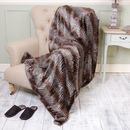 Faux Fur Brown Zebra Print Winter Throw