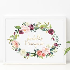 Autumn Rose Personalised Gold Foil Nursery Print