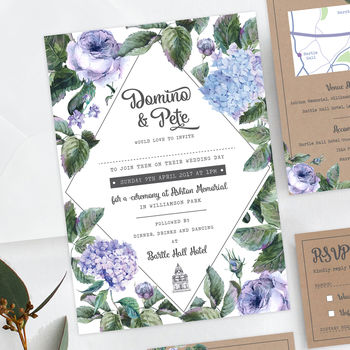 Wild Roses Floral Wedding Invite