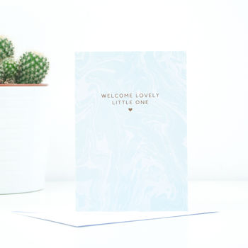 'Welcome Lovely Little One' Baby Blue Greetings Card
