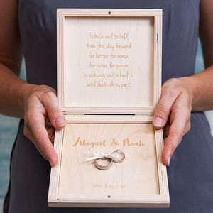 Personalised Modern Calligraphy Wedding Ring Box - storage & organisers