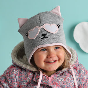 Girl's Knitted Kitty Cat Hat Pink And Grey - babies' hats