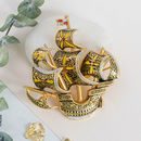 Vintage Brass Tall Ship Brooch