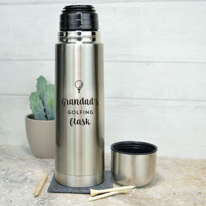 Personalised Stainless Steel Flask For Golfer - sports fan