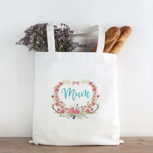 Personalised Floral Wreath Mum's Shopping Bag