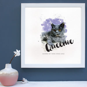 Personalised Watercolour Cat Portrait Framed Print