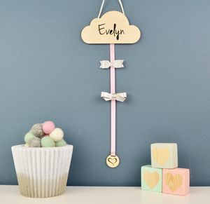 Personalised Cloud Hair Bow Hanger Wood