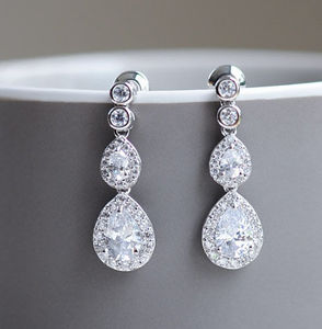 Double Pear Shaped Crystal Earrings - earrings