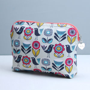 Personalised Bird And Flower Wash Or Make Up Bag