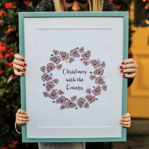 Personalised Pine Cone Wreath Print