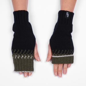 Knitted Lambswool Fingerless Mittens
