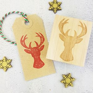 Christmas Stag's Head Rubber Stamp - cards & wrap
