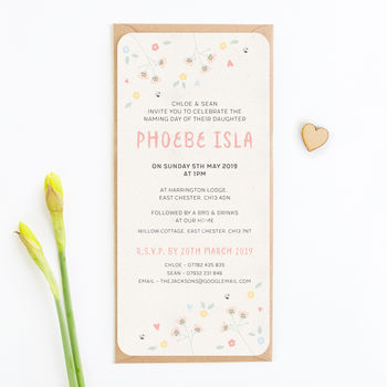 Christening Invitation Pastel Floral