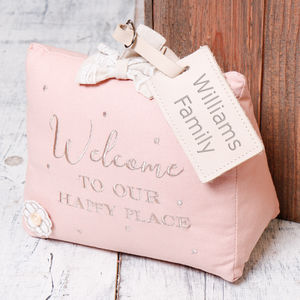 'Happy Place' Personalised Pink Fizz Door Stop - dining room