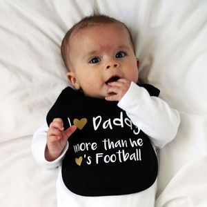 Daddy Loves Football Baby Bib