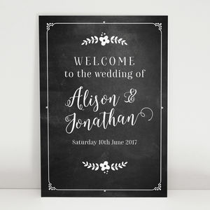 Chalkboard Wedding Welcome Sign - room decorations