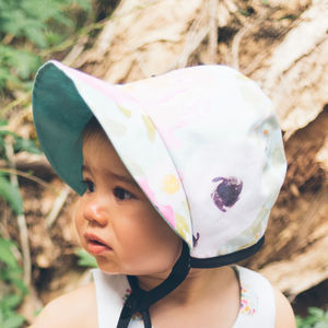Mint Floral Baby Bonnet / Girls Sunhat
