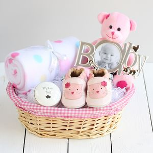 Deluxe Girl New Baby Gift Basket - baby shower gifts