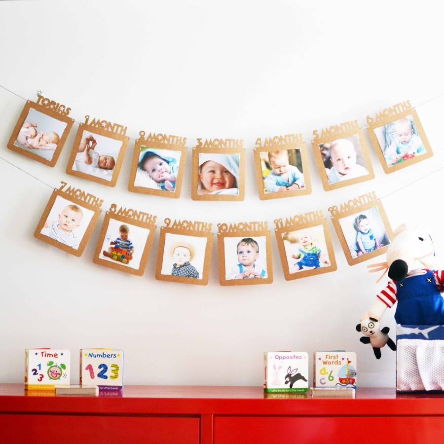 Babys First Year Personalised Papercut Photo Banner By Flutter