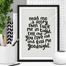'Read Me A Story' Nursery Decor Typography Print